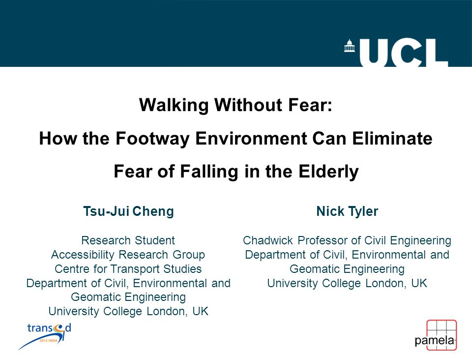 Walking Without Fear: How the Footway Environment Can Eliminate Fear of Falling in the Elderly Tsu-Jui Cheng Research Student Accessibility Research Group Centre for Transport Studies Department of Civil, Environmental and Geomatic Engineering University College London, UK Nick Tyler Chadwick Professor of Civil Engineering Department of Civil, Environmental and Geomatic Engineering University College London, UK