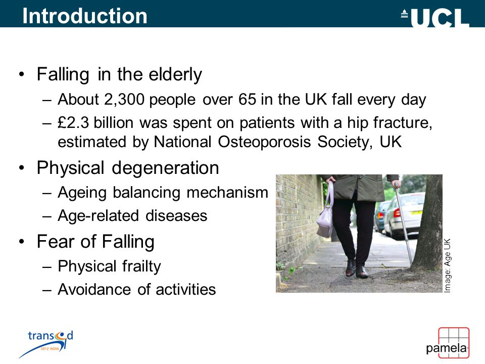 Introduction Falling in the elderly –About 2,300 people over 65 in the UK fall every day –£2.3 billion was spent on patients with a hip fracture, estimated by National Osteoporosis Society, UK Physical degeneration –Ageing balancing mechanism –Age-related diseases Fear of Falling –Physical frailty –Avoidance of activities Image: Age UK