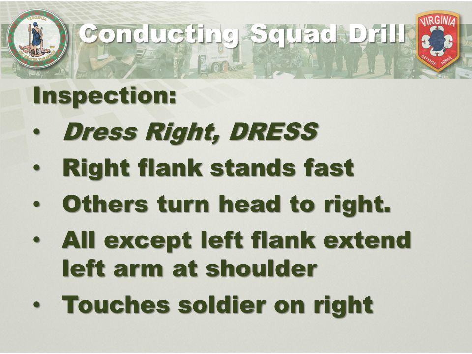 Conducting Squad Drill Inspection: Dress Right, DRESS Dress Right, DRESS Right flank stands fast Right flank stands fast Others turn head to right. Ot