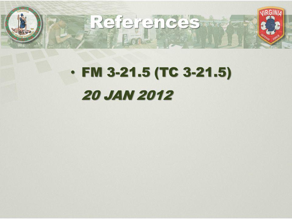 FM 3-21.5 (TC 3-21.5) 20 JAN 2012 FM 3-21.5 (TC 3-21.5) 20 JAN 2012 References