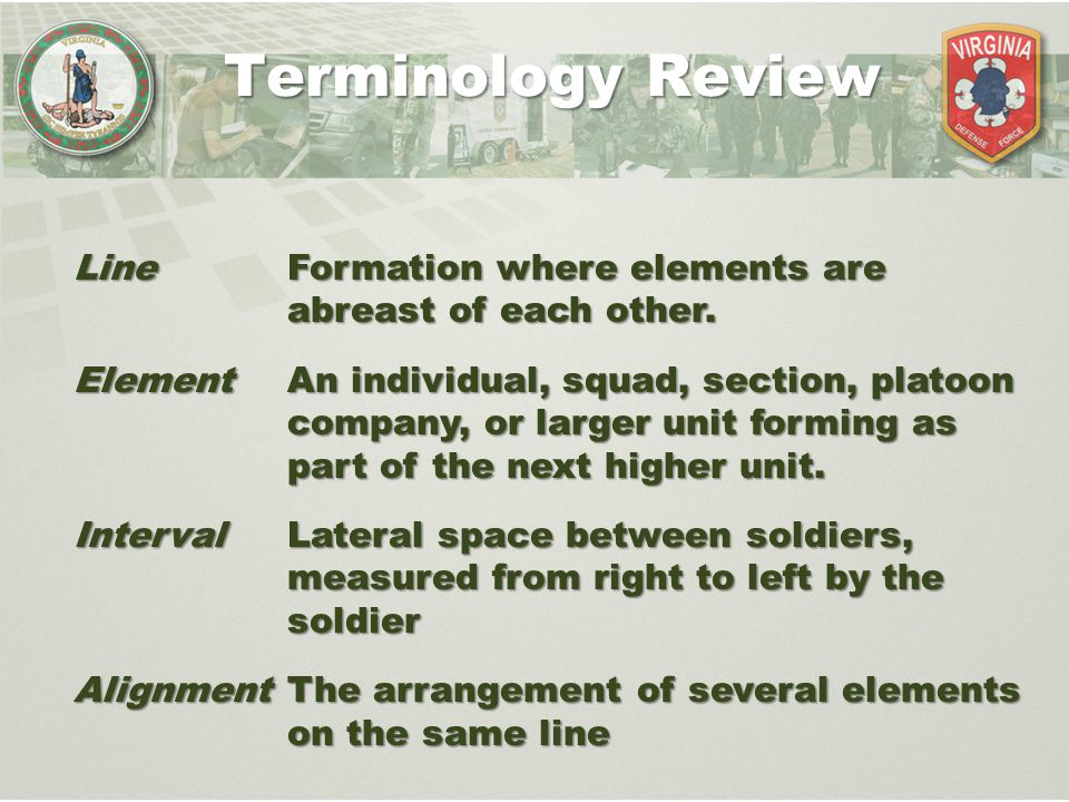 Squad in Line Formation: Element and Interval Terminology Review