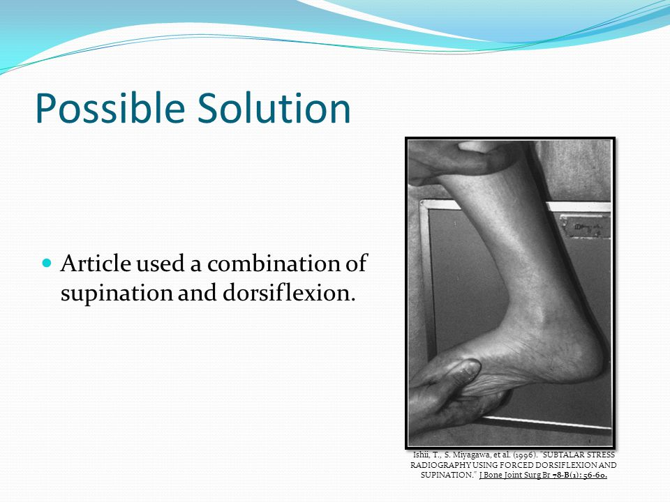 Possible Solution Article used a combination of supination and dorsiflexion.