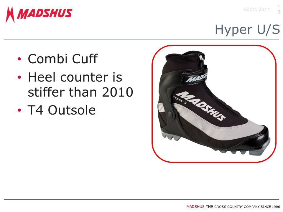 MADSHUS THE CROSS COUNTRY COMPANY SINCE 1906 Hyper U/S Combi Cuff Heel counter is stiffer than 2010 T4 Outsole 13 Boots 2011