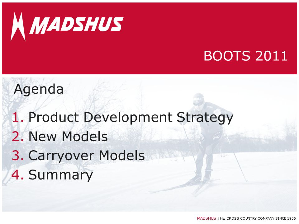 MADSHUS THE CROSS COUNTRY COMPANY SINCE 1906 MADSHUS BOOTS Product Development Strategy
