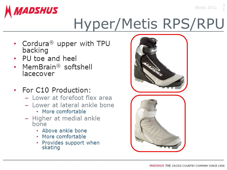 MADSHUS THE CROSS COUNTRY COMPANY SINCE 1906 Cordura ® upper with TPU backing PU toe and heel MemBrain ® softshell lacecover For C10 Production: – Low