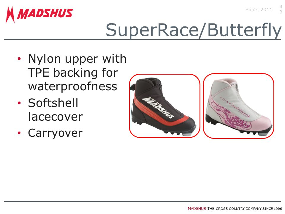 MADSHUS THE CROSS COUNTRY COMPANY SINCE 1906 Nylon upper with TPE backing for waterproofness Softshell lacecover Carryover Boots 201142 SuperRace/Butt