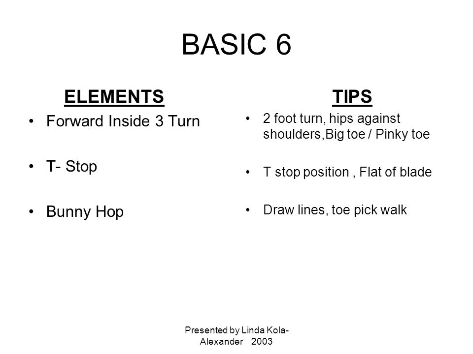 Presented by Linda Kola- Alexander 2003 BASIC 6 ELEMENTS Forward Inside 3 Turn T- Stop Bunny Hop TIPS 2 foot turn, hips against shoulders,Big toe / Pinky toe T stop position, Flat of blade Draw lines, toe pick walk