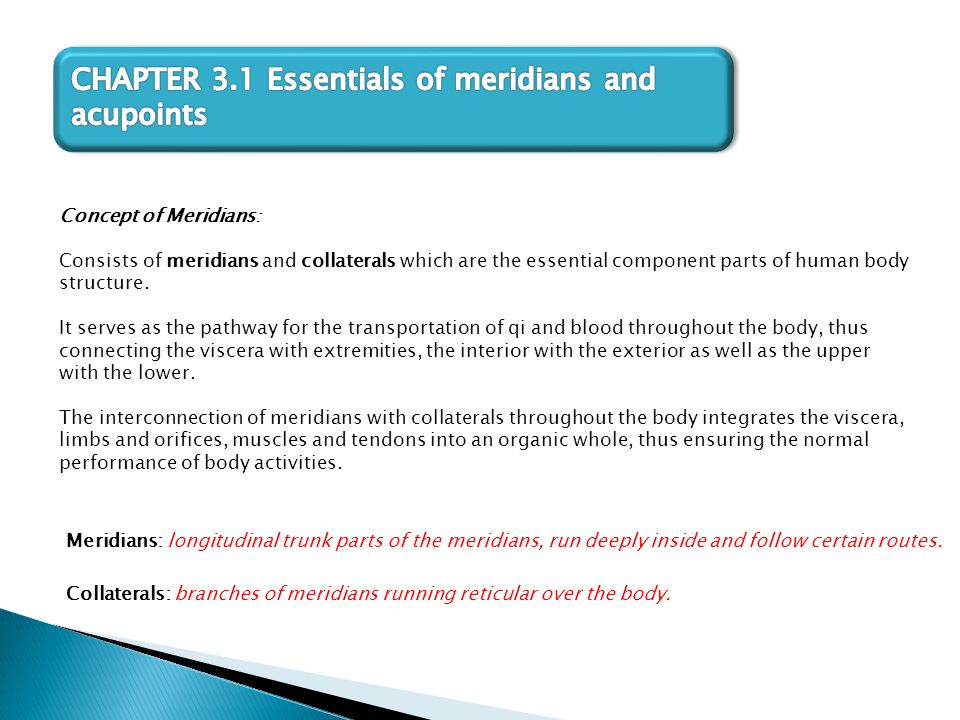 Concept of Meridians : Consists of meridians and collaterals which are the essential component parts of human body structure. It serves as the pathway