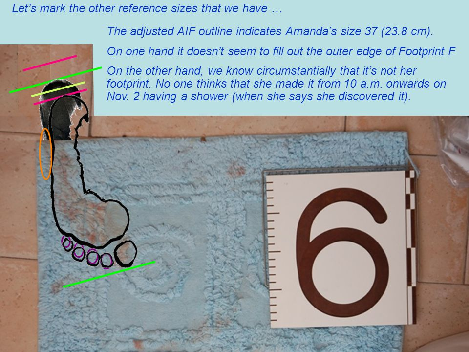 Let's mark the other reference sizes that we have … The adjusted AIF outline indicates Amanda's size 37 (23.8 cm).