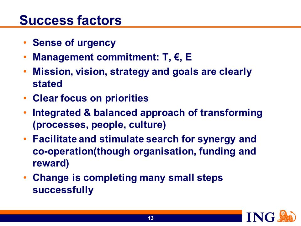 13 Success factors Sense of urgency Management commitment: T, €, E Mission, vision, strategy and goals are clearly stated Clear focus on priorities Integrated & balanced approach of transforming (processes, people, culture) Facilitate and stimulate search for synergy and co-operation(though organisation, funding and reward) Change is completing many small steps successfully