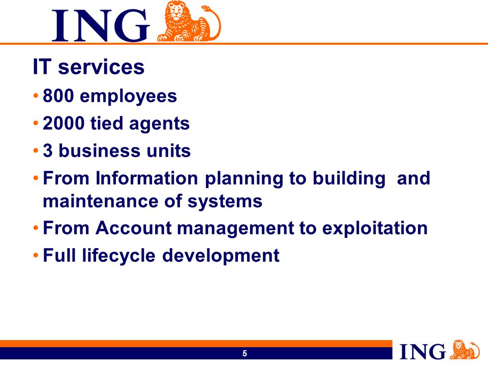 5 IT services 800 employees 2000 tied agents 3 business units From Information planning to building and maintenance of systems From Account management to exploitation Full lifecycle development