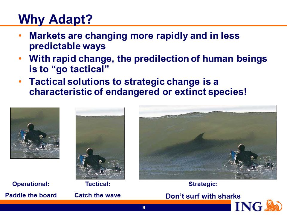 """9 Why Adapt? Markets are changing more rapidly and in less predictable ways With rapid change, the predilection of human beings is to """"go tactical"""" Ta"""