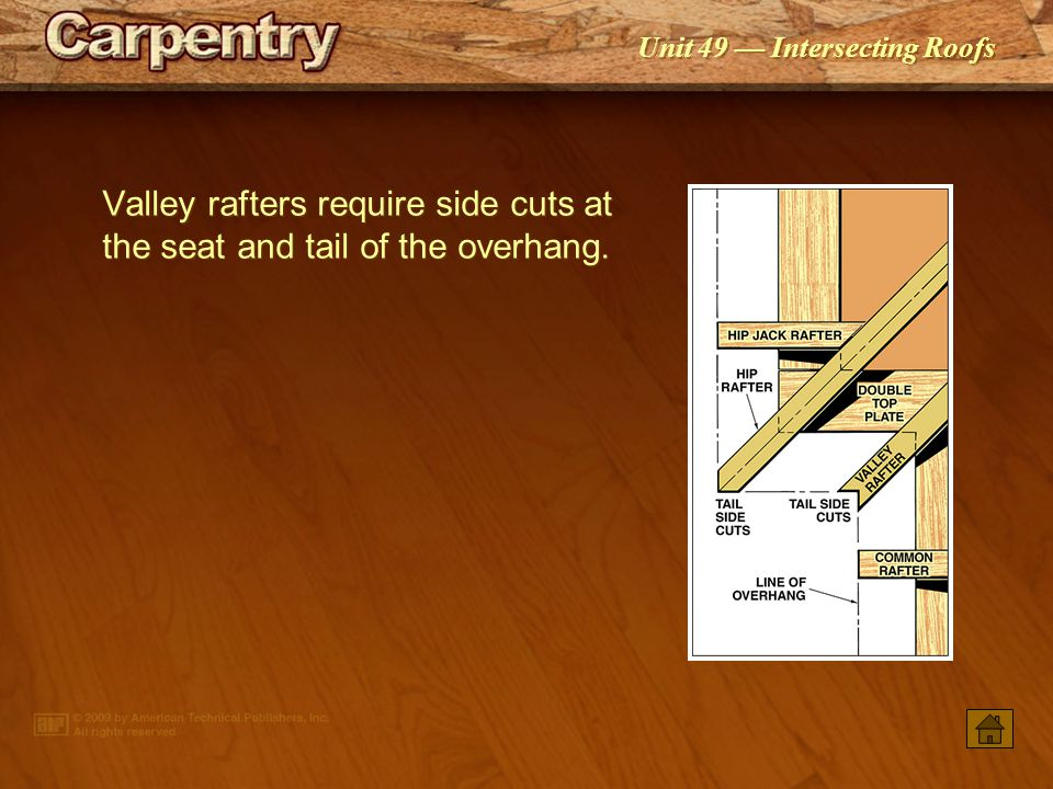 Unit 49 — Intersecting Roofs Framing square rafter tables may be used to calculate the length of hip ‑ valley cripple jack rafters.