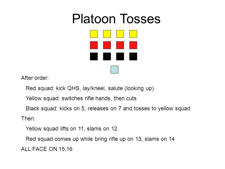 Platoon Tosses After order: Red squad: kick QHS, lay/kneel, salute (looking up) Yellow squad: switches rifle hands, then cuts Black squad: kicks on 5,