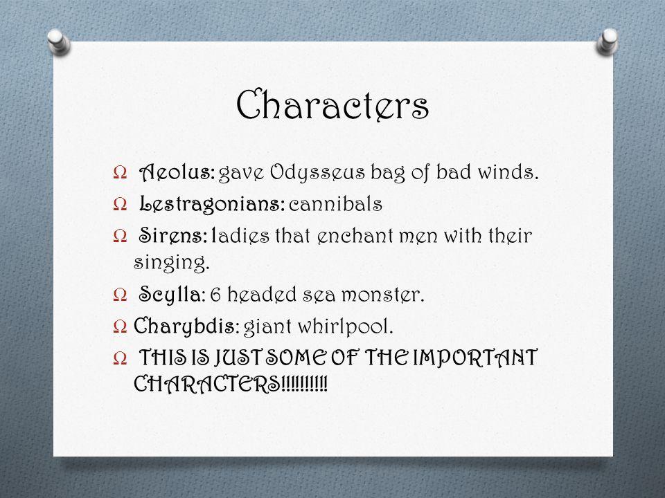 Characters Ω Aeolus: gave Odysseus bag of bad winds.