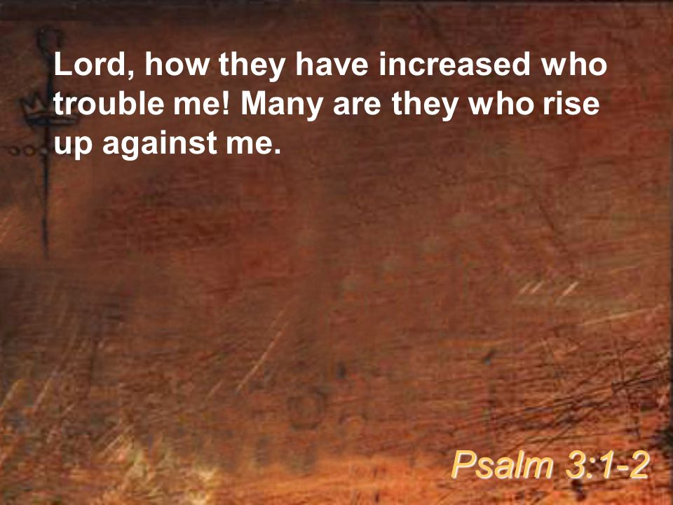 Lord, how they have increased who trouble me! Many are they who rise up against me. Psalm 3:1-2