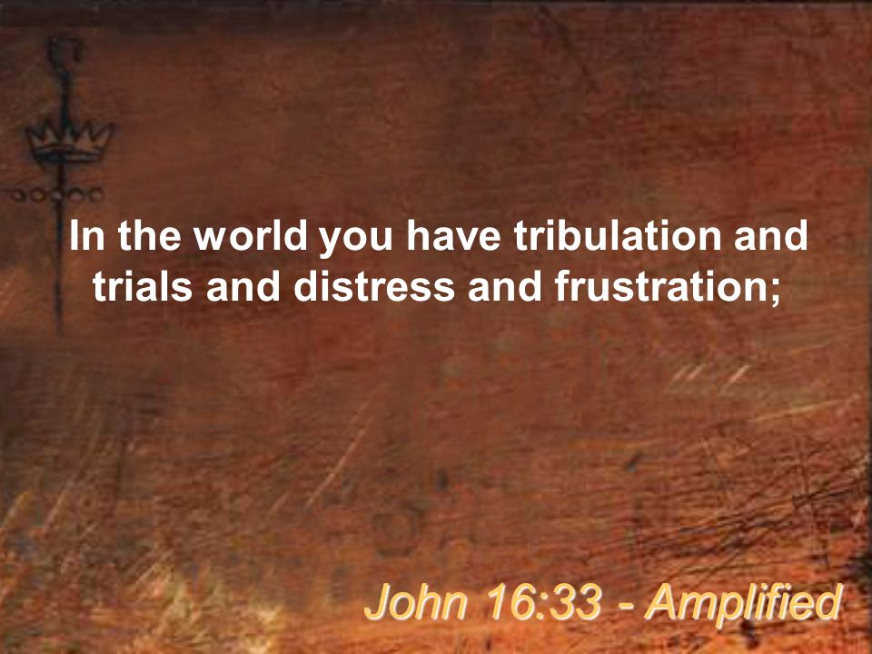 In the world you have tribulation and trials and distress and frustration; John 16:33 - Amplified
