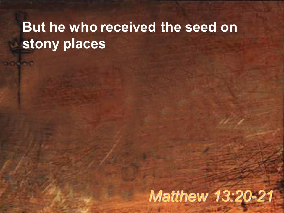 But he who received the seed on stony places Matthew 13:20-21