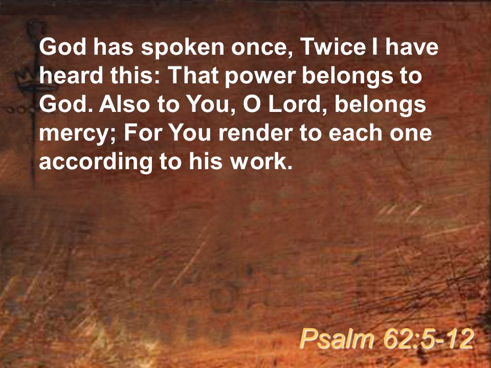 God has spoken once, Twice I have heard this: That power belongs to God.