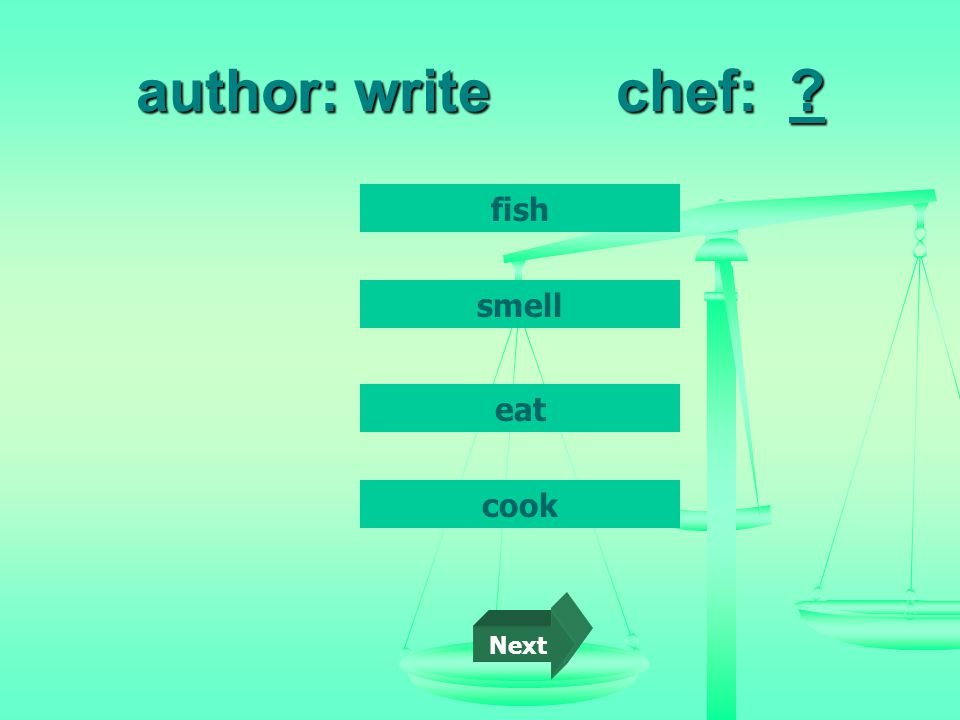 author: writechef: fish cook smell eat Next
