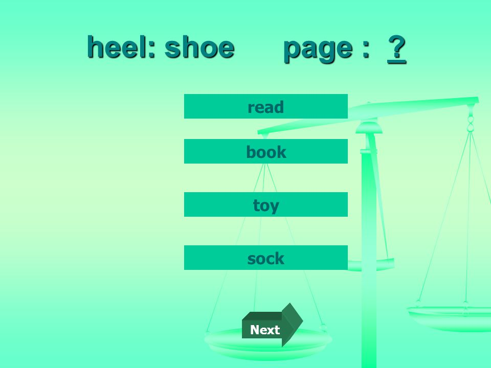 heel: shoepage : read book toy sock Next