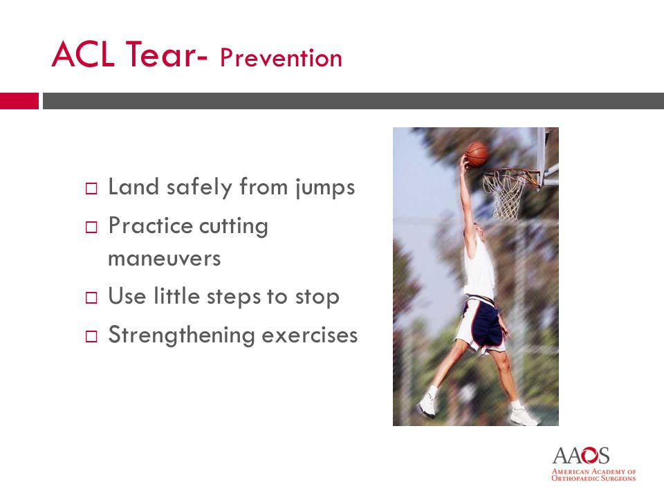 23 Meniscus Tear  Helps knee joint carry weight, glide, and turn  Twisting injury  Football and other contact sports