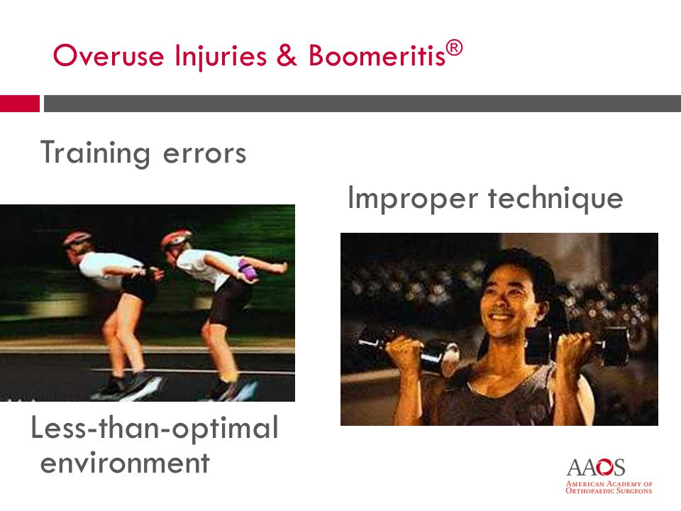 47 Overuse Injuries  Change intensity, duration, frequency  Warm up  Heat before, ice after  Cross train  Technique