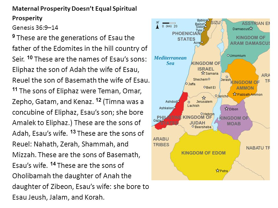 Maternal Prosperity Doesn't Equal Spiritual Prosperity Genesis 36:9–14 9 These are the generations of Esau the father of the Edomites in the hill country of Seir.