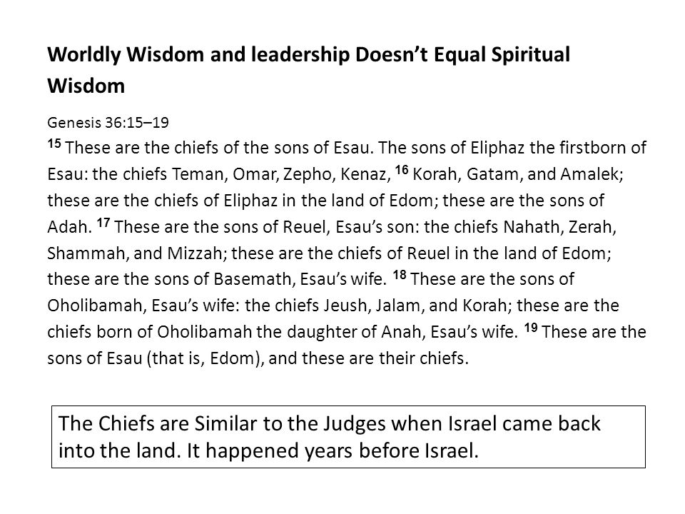 Worldly Wisdom and leadership Doesn't Equal Spiritual Wisdom Genesis 36:15–19 15 These are the chiefs of the sons of Esau.