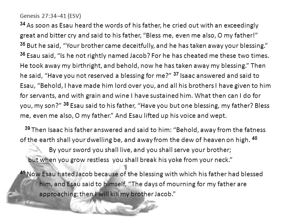 Genesis 27:34–41 (ESV) 34 As soon as Esau heard the words of his father, he cried out with an exceedingly great and bitter cry and said to his father, Bless me, even me also, O my father! 35 But he said, Your brother came deceitfully, and he has taken away your blessing. 36 Esau said, Is he not rightly named Jacob.