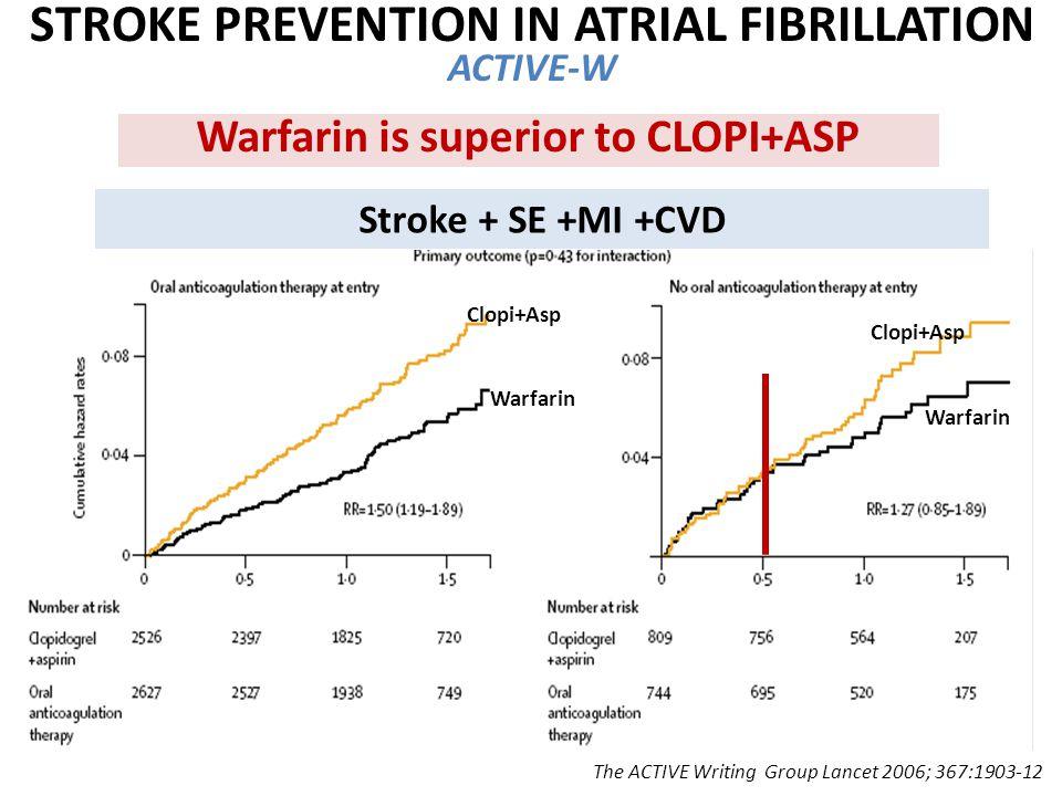 The ACTIVE Writing Group Lancet 2006; 367:1903-12 Stroke + SE +MI +CVD Warfarin is superior to CLOPI+ASP Warfarin Clopi+Asp STROKE PREVENTION IN ATRIAL FIBRILLATION ACTIVE-W