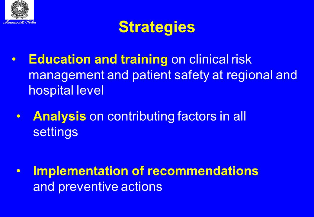 Ministero della Salute Strategies Education and training on clinical risk management and patient safety at regional and hospital level Analysis on contributing factors in all settings Implementation of recommendations and preventive actions