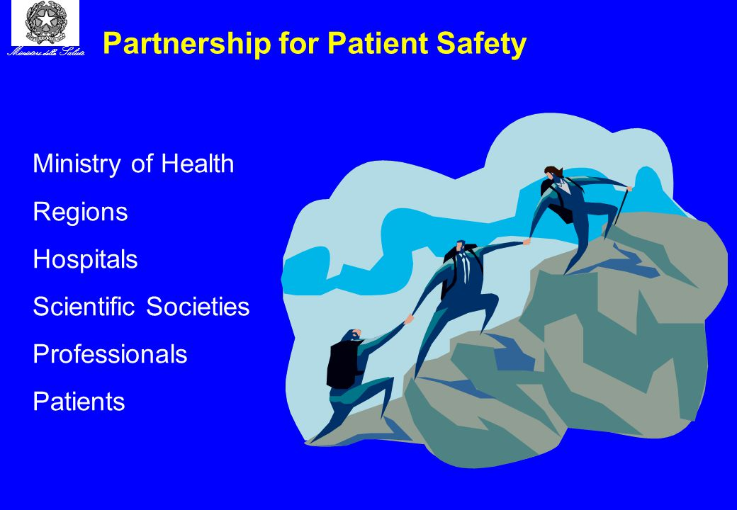 Ministero della Salute Partnership for Patient Safety Ministry of Health Regions Hospitals Scientific Societies Professionals Patients