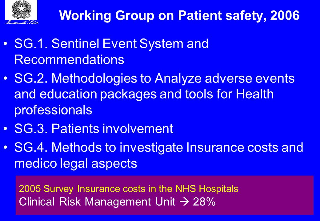 Ministero della Salute 8 Working Group on Patient safety, 2006 SG.1. Sentinel Event System and Recommendations SG.2. Methodologies to Analyze adverse