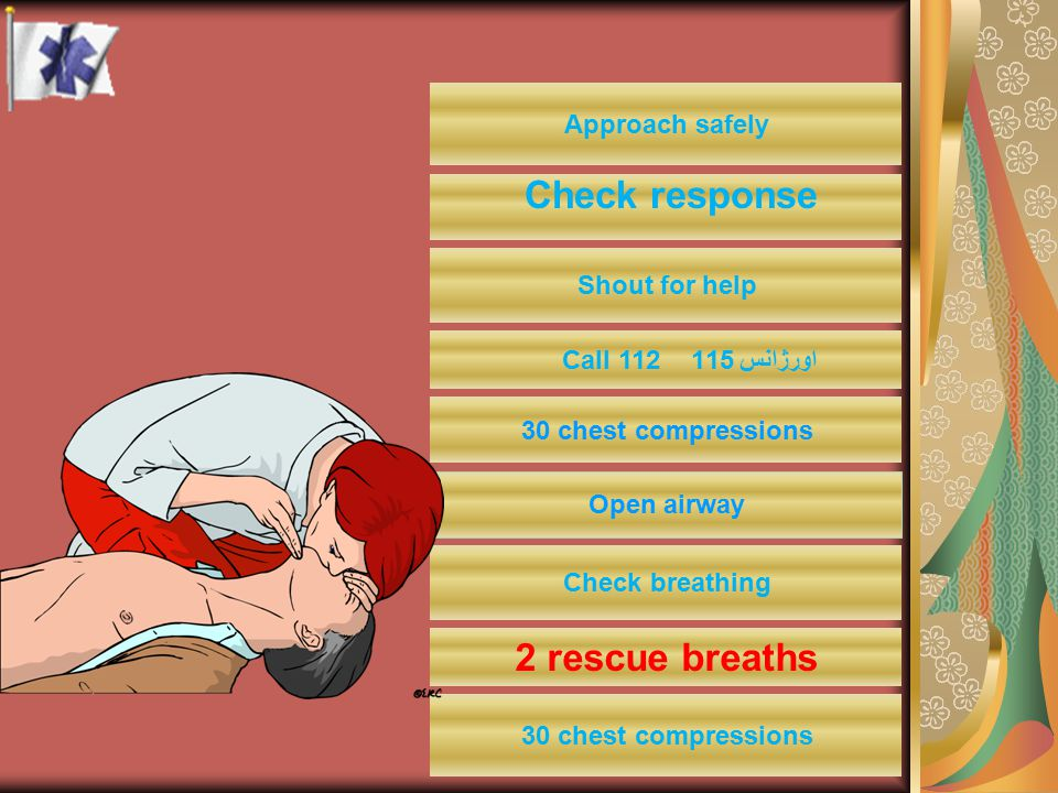 Approach safely Shout for help اورژانس 115 Call 112 30 chest compressions Check breathing Check response 2 rescue breaths 30 chest compressions Open a