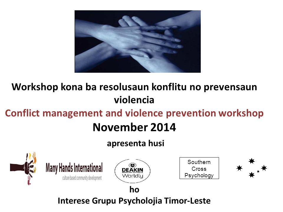 Workshop kona ba resolusaun konflitu no prevensaun violencia Conflict management and violence prevention workshop November 2014 apresenta husi ho Inte