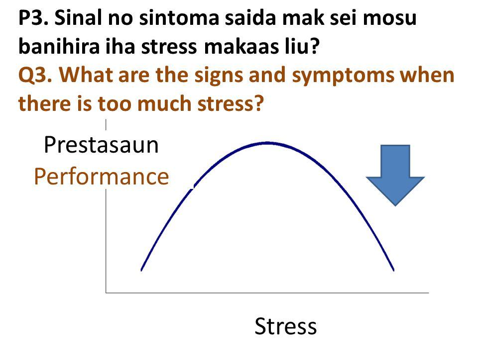 P3. Sinal no sintoma saida mak sei mosu banihira iha stress makaas liu? Q3. What are the signs and symptoms when there is too much stress? Prestasaun