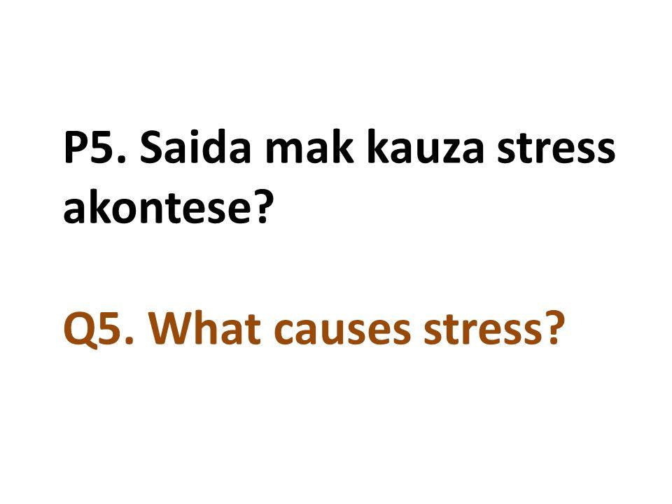 P5. Saida mak kauza stress akontese? Q5. What causes stress?