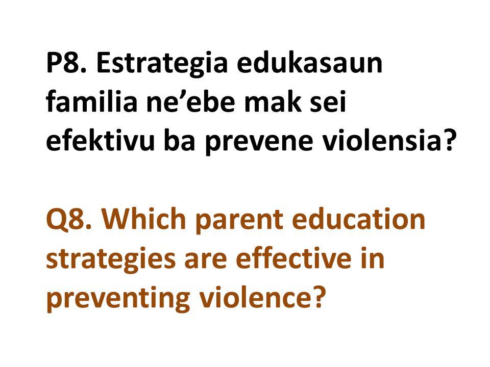 P8. Estrategia edukasaun familia ne'ebe mak sei efektivu ba prevene violensia? Q8. Which parent education strategies are effective in preventing viole