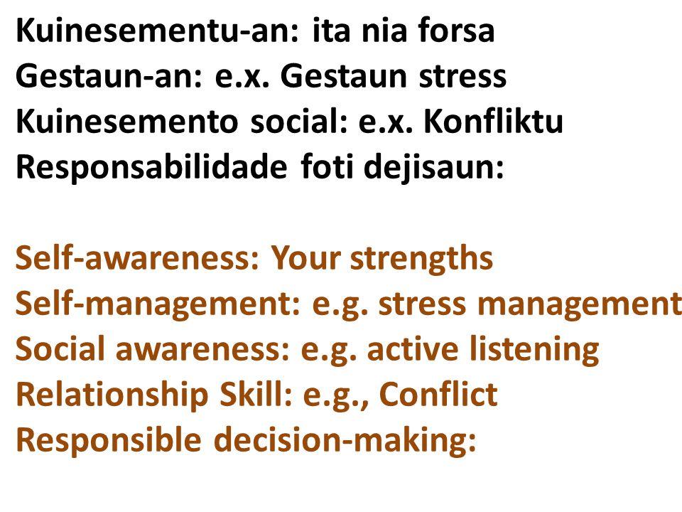 Kuinesementu-an: ita nia forsa Gestaun-an: e.x. Gestaun stress Kuinesemento social: e.x. Konfliktu Responsabilidade foti dejisaun: Self-awareness: You