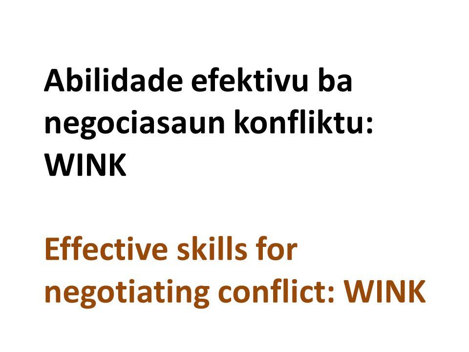 Abilidade efektivu ba negociasaun konfliktu: WINK Effective skills for negotiating conflict: WINK