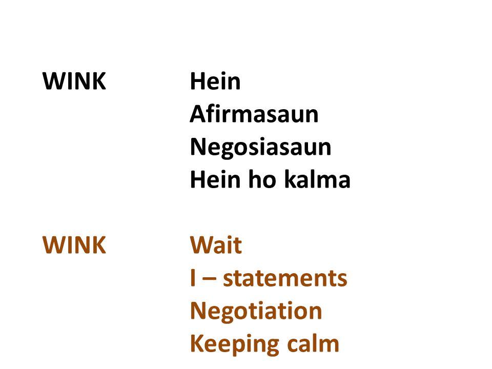 WINKHein Afirmasaun Negosiasaun Hein ho kalma WINK Wait I – statements Negotiation Keeping calm