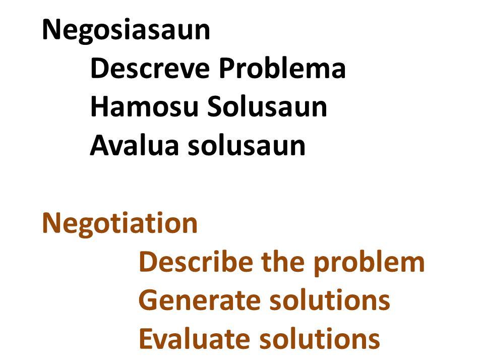 Negosiasaun Descreve Problema Hamosu Solusaun Avalua solusaun Negotiation Describe the problem Generate solutions Evaluate solutions