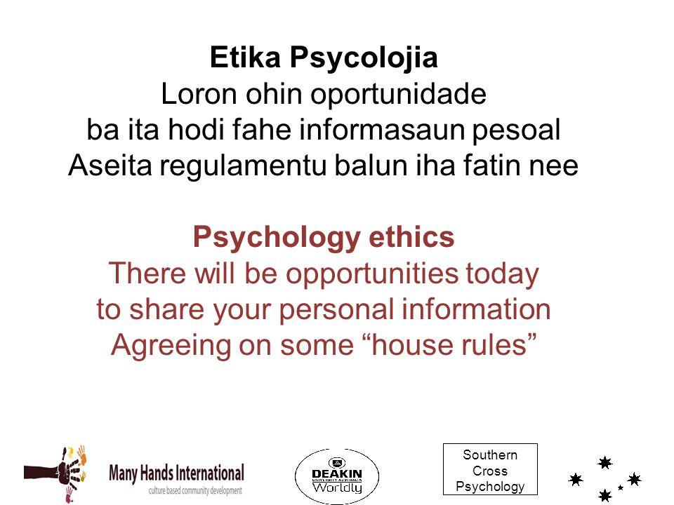 Southern Cross Psychology Etika Psycolojia Loron ohin oportunidade ba ita hodi fahe informasaun pesoal Aseita regulamentu balun iha fatin nee Psycholo