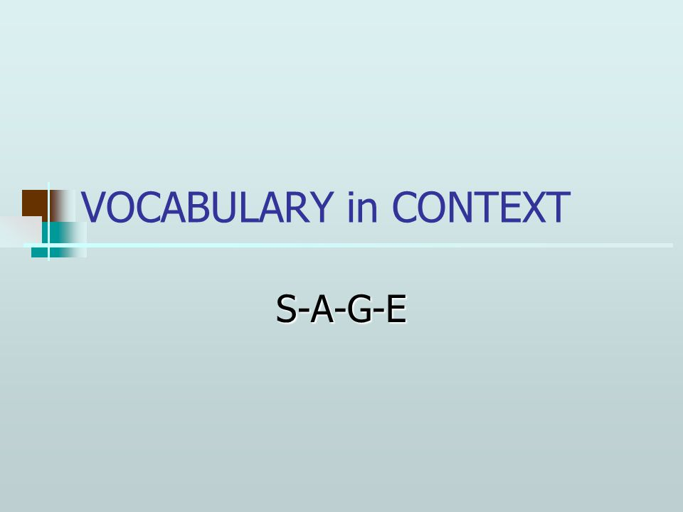 VOCABULARY in CONTEXT S-A-G-E