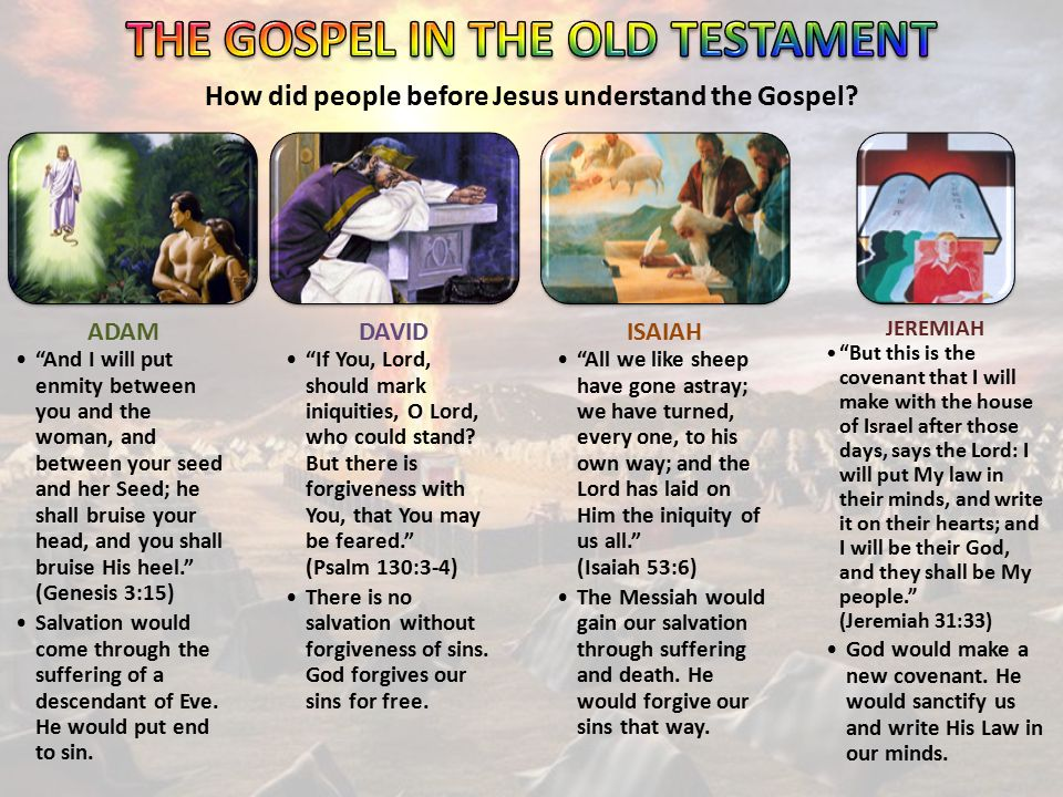 """How did people before Jesus understand the Gospel? ADAM """"And I will put enmity between you and the woman, and between your seed and her Seed; he shall"""