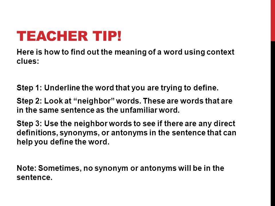 TEACHER TIP.