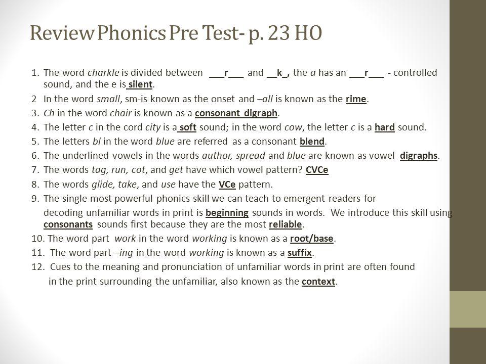 Review Phonics Pre Test- p.