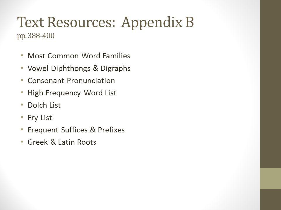 Text Resources: Appendix B pp.