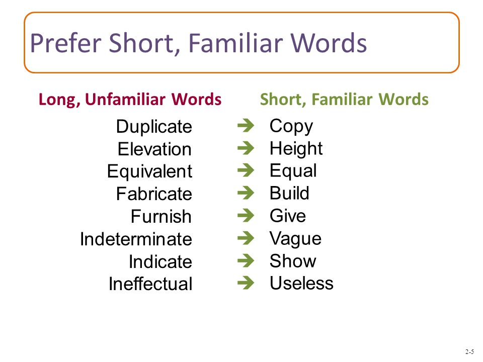 2-5 Prefer Short, Familiar Words  Copy  Height  Equal  Build  Give  Vague  Show  Useless Duplicate Elevation Equivalent Fabricate Furnish Indeterminate Indicate Ineffectual Long, Unfamiliar WordsShort, Familiar Words